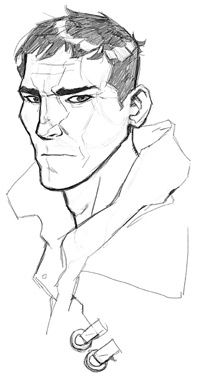 """Head sketch progression by Barnaby Bagenda for Alyssa Crow's """"Monsters Within"""". #ConceptArt #Comics #male #faces #character"""