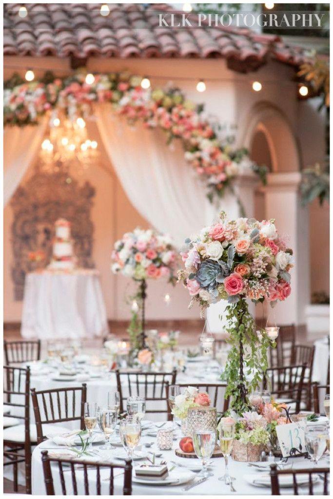 Peach And C Wedding Centrepiece