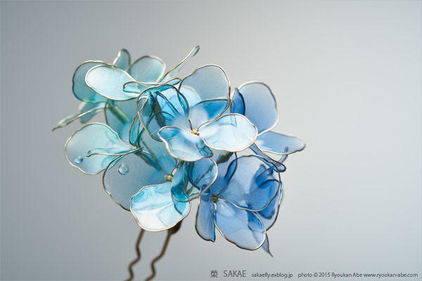 簪作家 榮 Sakae 2015年 紫陽花 簪【 水面 Minamo 】 画像2 ワイヤーアート簪