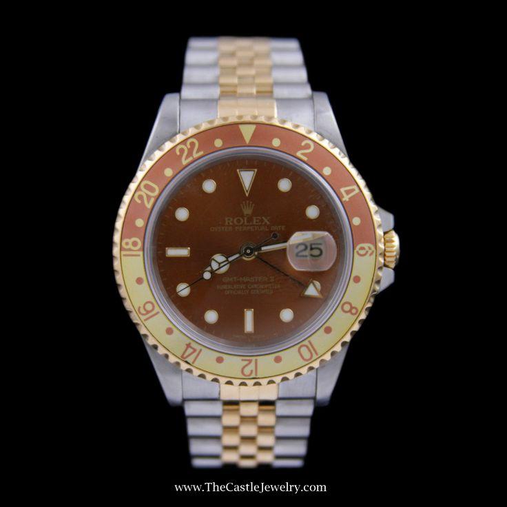 Men's Rolex GMT-Master II Gold & Copper Bezel Stainless Steel 16713