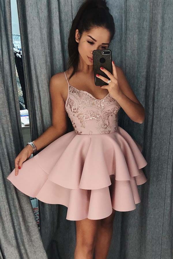 Spaghetti Straps Tiered Pink Satin Homecoming Dress with Sequins PD017 in 2020 | Prom dresses, Homecoming dresses, Dresses
