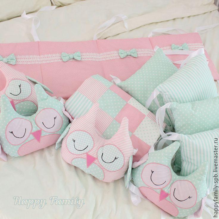Купить Комплект в кроватку для девочки - разноцветный, комплект в кроватку, бортики в кроватку, бортики в детскую кровать