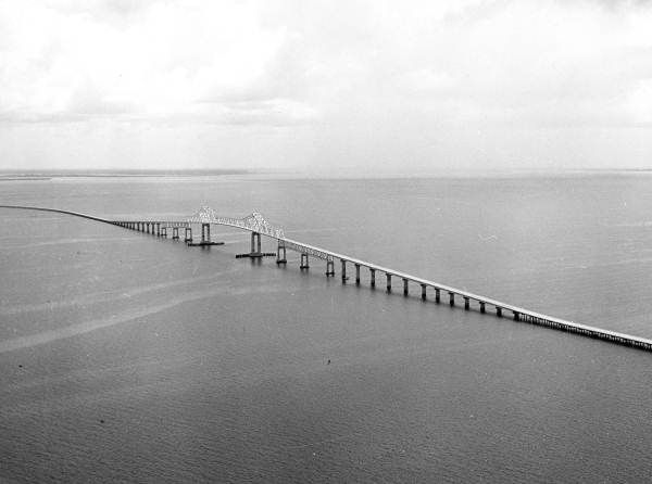 Sunshine skyway bridge in black and white.