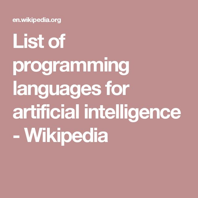 List of programming languages for artificial intelligence - Wikipedia
