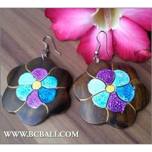 Assorted Earrings Wood Carving Flower Painting - bali fashion earrings woods carving painting, handmade earrings wood flower painting fashion, online shop jewellerry fashion from bali indonesia, wholesaler jewellerry fashion wood from bali indonesia, woman accessories fashion from bali indonesia, indone