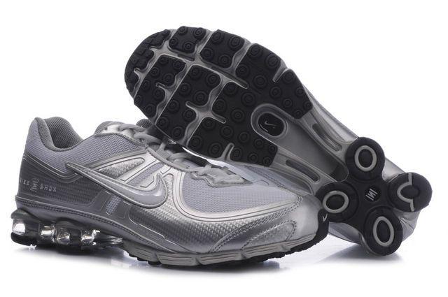 Silvery Mens Nike Shox R4 Shoes 25805