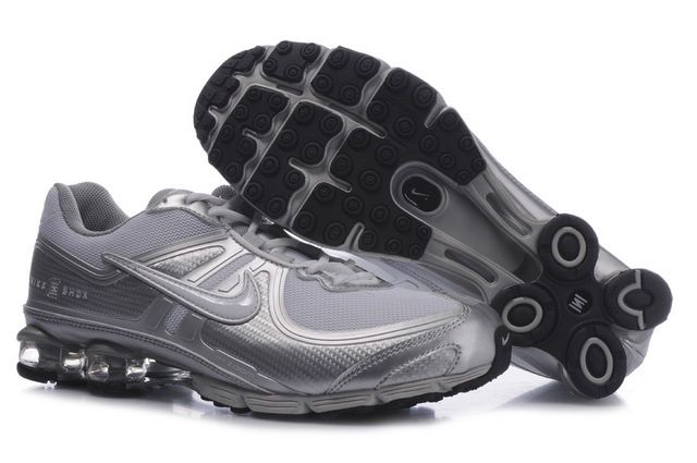 Silvery Mens Nike Shox R4 Shoes 25805