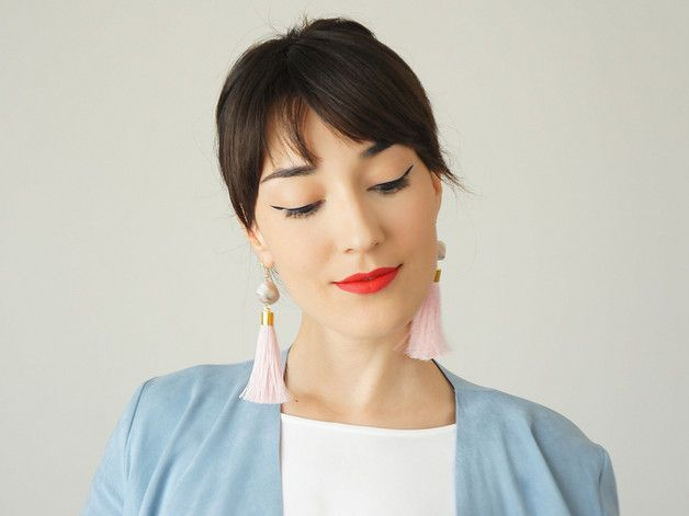 Dangle Earrings – Gold Plated Pink Tassel Earrings with Gemstone – a unique product by Epuu on DaWanda