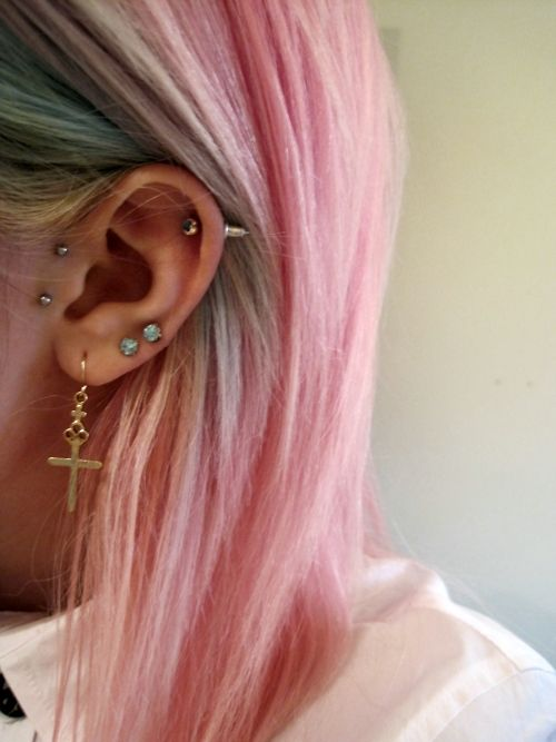 "piercings [via Kailey Lamey] ~ considering the multiples, a REALLY nice ""balance"" & symmetry :-)"