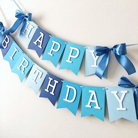 Blue Boy Happy 1st Birthday Banner Blue Ombre Boy First Etsy Diy Birthday Decorations Happy Birthday Banner Diy First Birthday Decorations