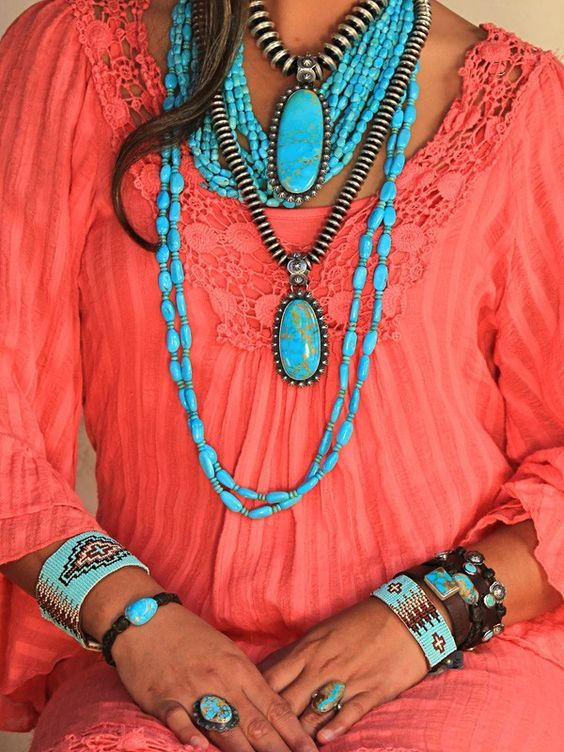 I love turquoise and coral together.: