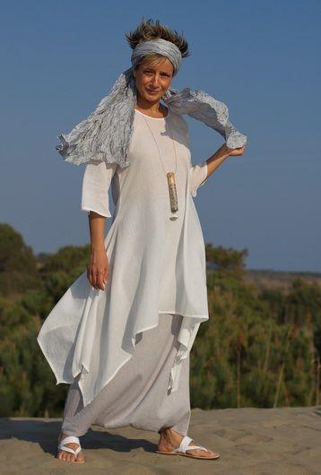 White cotton veil tunic, ice blue linen sarouel skirt -:- AMALTHEE CREATIONS -:-