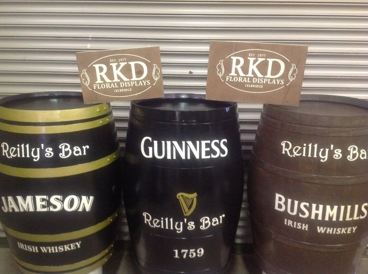 Selection of branded barrels done by RKD Floral Displays