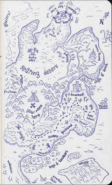 25 - treasure map   Flickr - Photo Sharing! sketch map treasure pirate