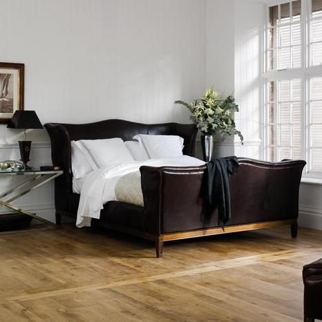 LOVE the transitional look of the Churchill Leather Bed! Old world meets new. So handsome. Larry Button & Associates, LLC are the exclusive distributors for And So To Be (London).