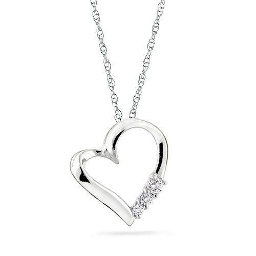 10k Gold 3-stone Diamond Heart Pendant with 18 http://www.amazon.com/3-stone-Diamond-Heart-Pendant-Chain/dp/B001QD010Y/?tag=utilis-20