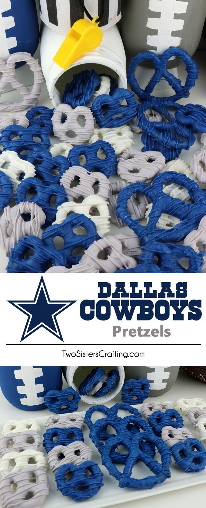 Dallas Cowboys Pretzels - yummy bites of sweet and salty Football Game Day goodness that are super easy to make. They are perfect as a little extra treat at a NFL playoff party, a Super Bowl party or as a special dessert for the Dallas Cowboys fan in your life. Follow us for more fun Super Bowl Food Ideas.