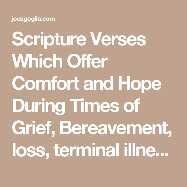 Scripture Verses Which Offer Comfort and Hope During Times of Grief, Bereavement, loss, terminal illnesses, & newborns)   - losing a father, bereavement, grief, need comfort  - About Joe Agoglia