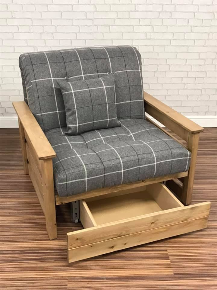 Stylish Chair Bed With Storage Drawer