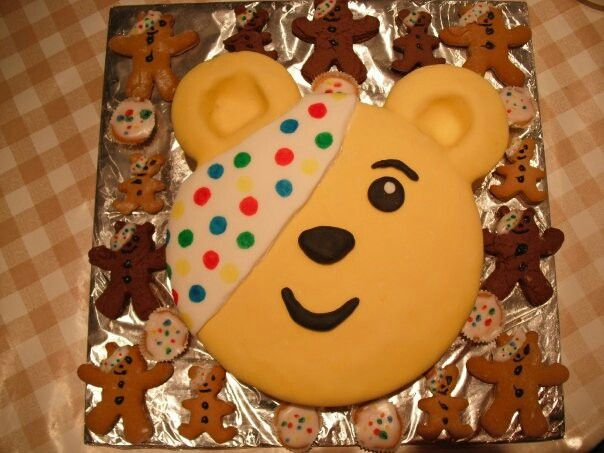 Pudsey bear children in need fundraiser cake and biscuits