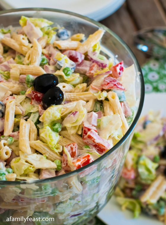 Chopped Salad with Pasta - Creamy dressing, pasta, veggies, your choice of meat.  A great all-in-one meal!  Perfect for a picnic or a trip to the beach!