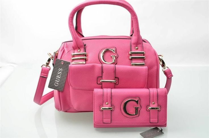 Guess Purse & Wallet Set Pink Kristin Shoulderbag Satchel w/ Clutch 2 Pc NWT #Guess #Satchel