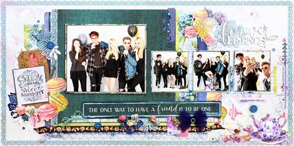 Friends Forever layout by Glenda Viljoen with the Tea Time collection.