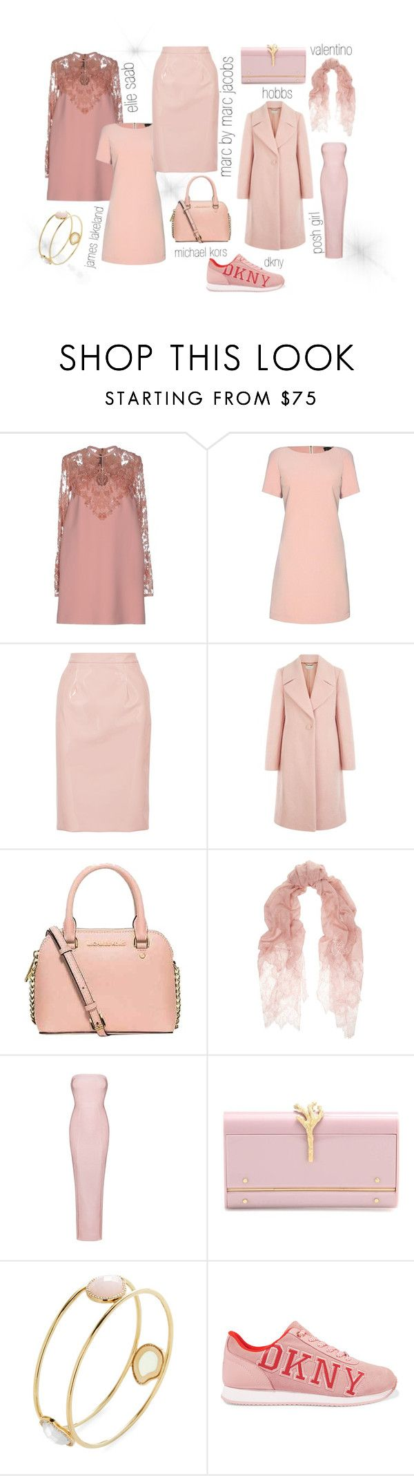 """What to Wear: Rose Quartz"" by gioellia ❤ liked on Polyvore featuring Elie Saab, James Lakeland, Marc by Marc Jacobs, Hobbs, Michael Kors, Valentino, Posh Girl, Marcia Moran and DKNY"