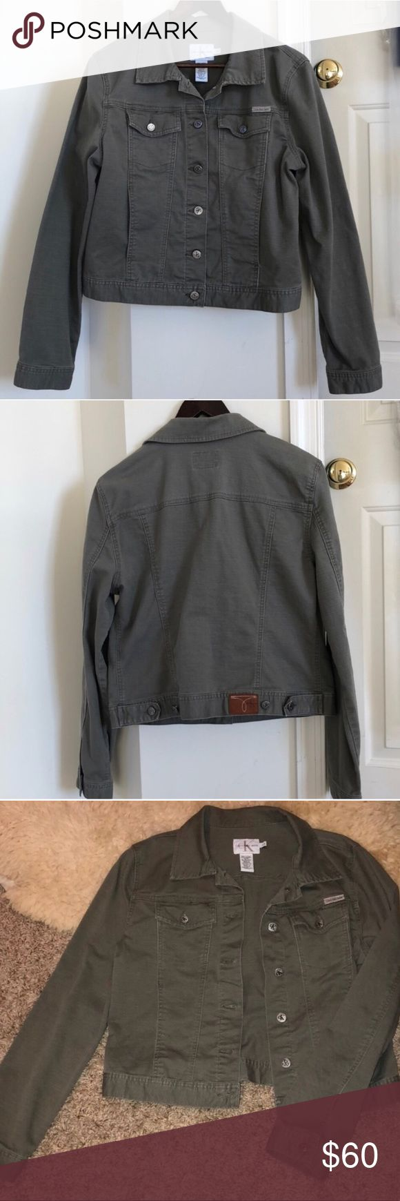 Calvin Klein Army Green Denim Style Jacket