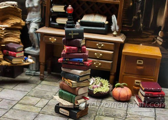 Dollhouse-Pile/ stack/ set of 14 miniature leather and paper