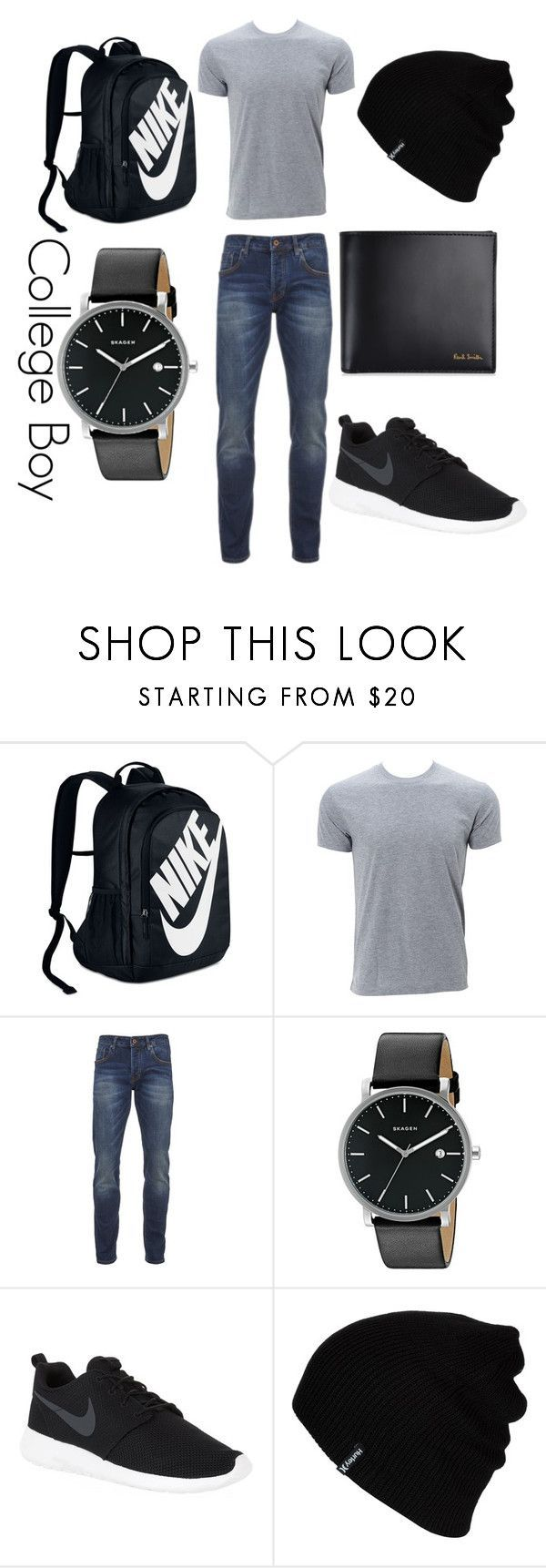 """College Boy"" by magriatrix ❤ liked on Polyvore featuring NIKE, Scotch & Soda, Skagen, Hurley, Paul Smith, men's fashion and menswear"