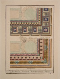 "plafonds des corniches corinthienne et composite italian contemporary hand coloured engraving   9 x 12"" PAIR $100"