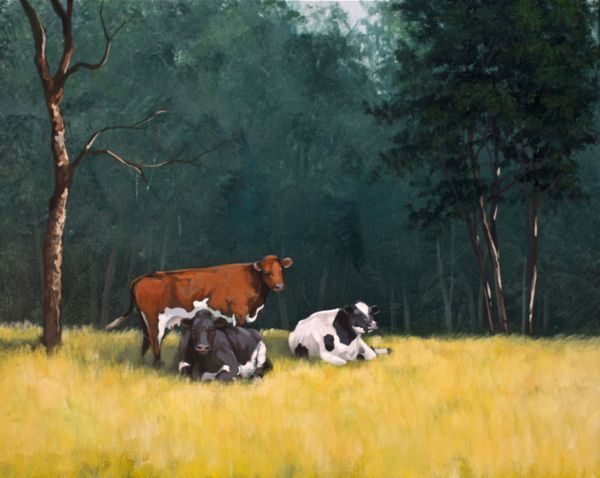 Simple Cows – Online Painting Lesson. This lesson is about ...