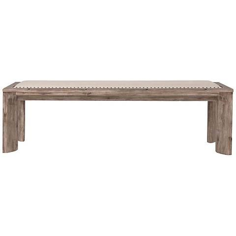 Rivet-style nailhead detailing perfectly frames the fabric-covered seat of this traditional dining bench.