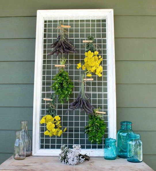 herb drying rack repurposed from a picture frame, gardening, how to, repurposing upcycling