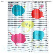 rideau de douche en tissu comics sensea multicolore 180 x 200 cm - Rideau De Douche Color