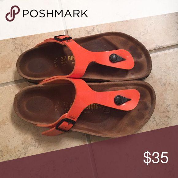 Orange Birkenstock sandals Birkenstock sandals • orange • US size 7.5 • $35 Birkenstock Shoes Sandals