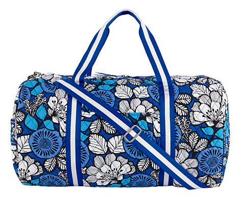NEW! Vera Bradley Round Duffel! Available in the following prints: Flutterby, Flower Shower, Fanfare, Petal Paisly, Blue Bayou (Shown in pic.) Clementine, Julep Tulip, Citron, Canterberry Magenta, Canterberry Cobalt, Heather, Midnight Blues, Plum Crazy, & Jazzy Blooms $96.00