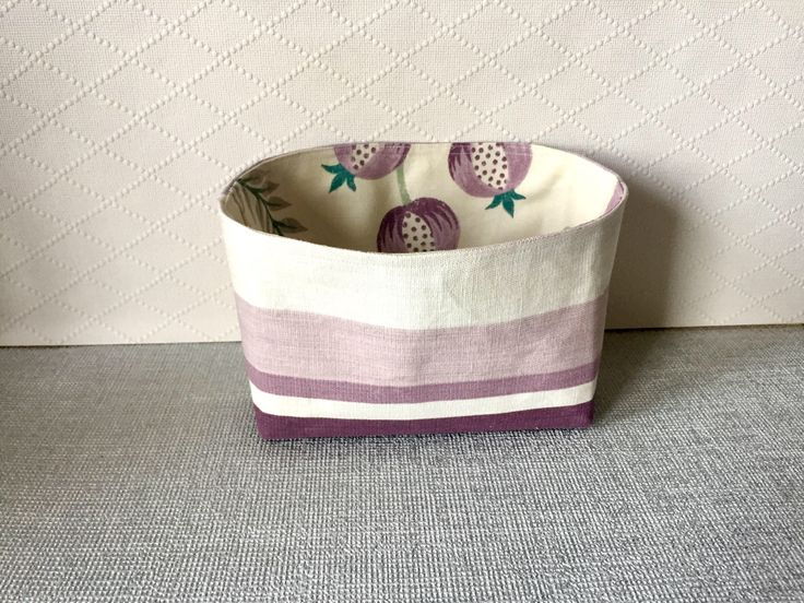 Excited to share the latest addition to my #etsy shop: Small Fabric bin, Laura Ashley fabric, storage hamper, linen basket, home and bathroom storage, house warming gift, home organiser #storage #fabric #purple #housewarming #mothersday #mauvepurple #smallfabricbin