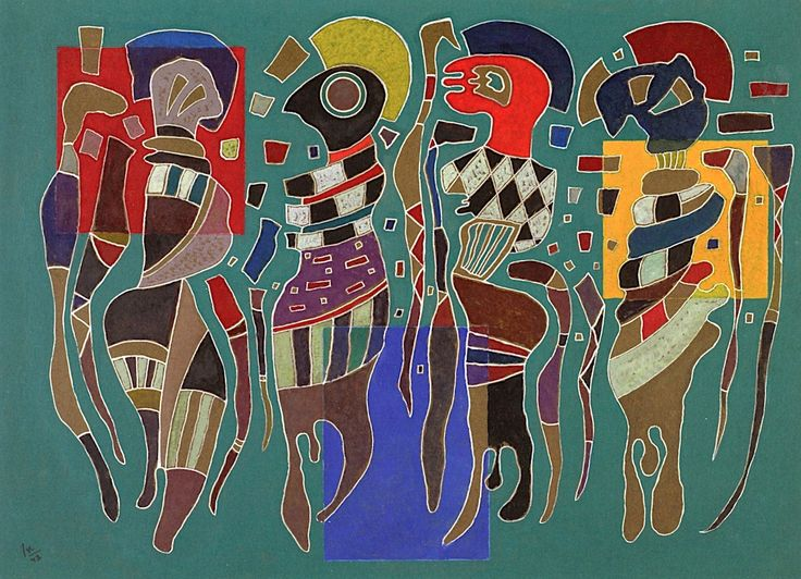 Wassily Kandinsky - Four figures on three squares, 1943