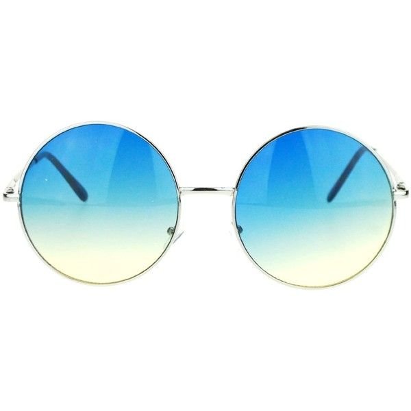 Hippie Retro Groovy Gradient Oversize Circle Lens Round Lennon... (£8.32) ❤ liked on Polyvore featuring accessories, eyewear, sunglasses, glasses, round hippie sunglasses, blue sunglasses, circular sunglasses, blue lens sunglasses and circle sunglasses