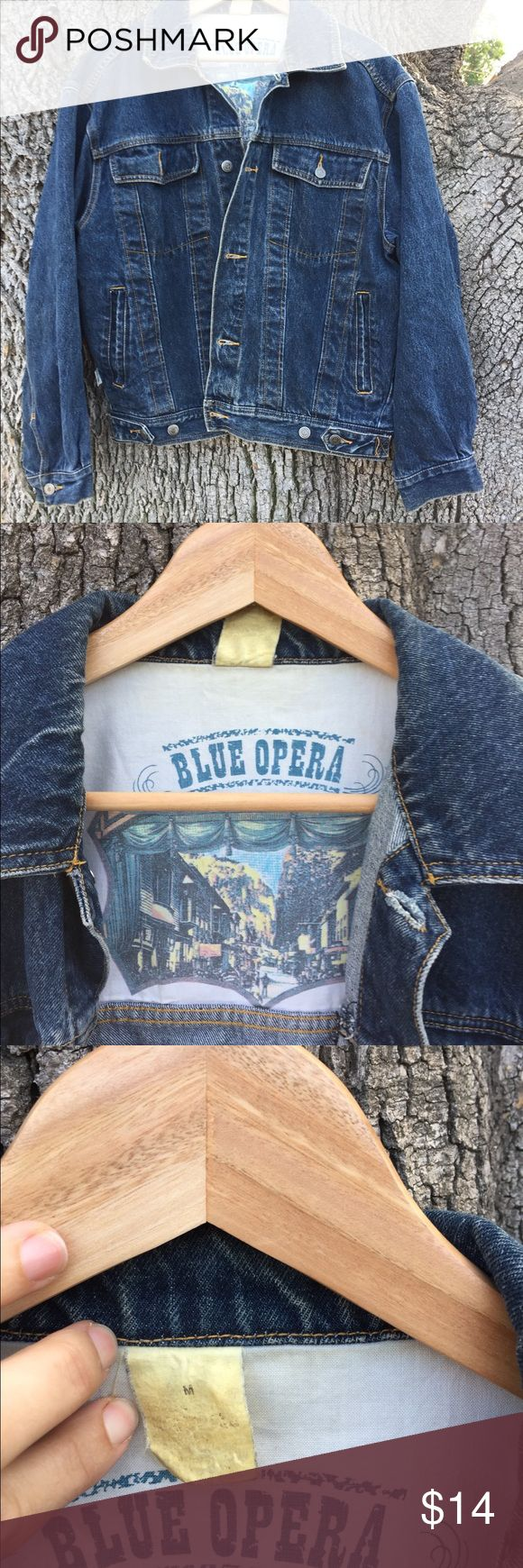 Vintage Blue Opera Mens Jean Jacket Very unique! Well made with lots of details. Can be worn by women for an oversized vintage jean jacket look or by men for vintage look. Blue Opera Jackets & Coats Jean Jackets