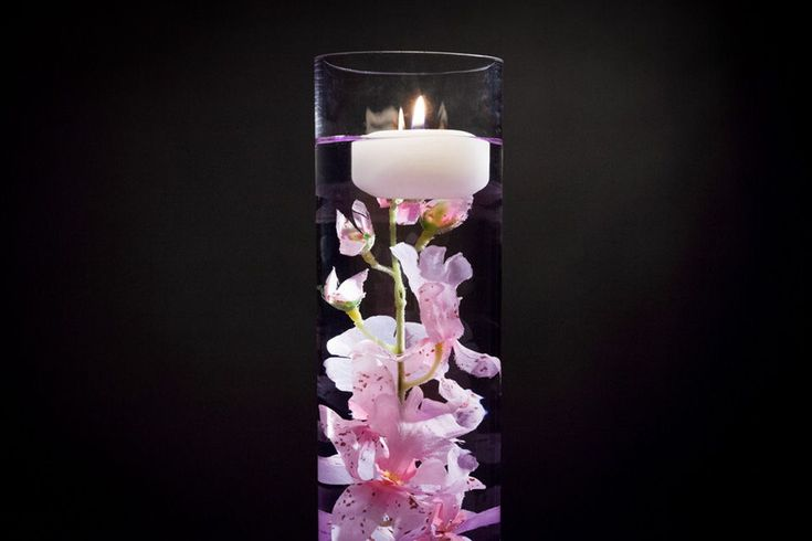 Pink floral centerpiece with led lights and floating