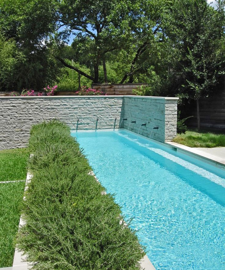 Narrow Pool Design With Water Features In The Wall And Planting Area Along  The Side.  Narrow Pool Designs