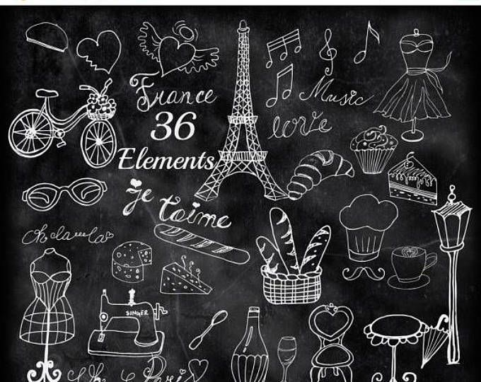 "SALE40% schoolbord Parijs clipart: ""DOODLE PARIS"" Eiffel Tower Frankrijk Diy bruiloft uitnodiging bruiloft clipart Parijs café Frankrijk clipart naaien"