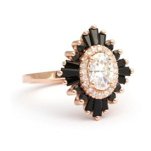 Black Onyx in engagement ring