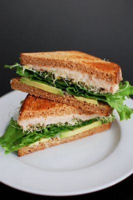 White Bean and Avocado Sandwich (I make one similar that also has cucumbers, lots of spinach leaves, maybe some bell pepper slices, lime juice & garlic salt, a bit of hot sauce for those who like the spice, and I like the avocado slices as guac since
