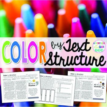 Text Structure Coloring PrintablesText Structure of nonfiction is a difficult skill for students to understand.  The best way I've found to teach it involves two things:  1 - Giving the students texts about the same topic but different structures side by side so they can see the difference in how the author organized the information and 2.