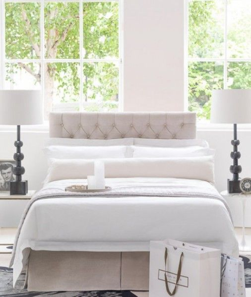 The St Germain double storage bed in White Sand Belgian Linen, €1.170