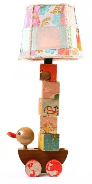 lamp for baby's room from wooden toy and blocks